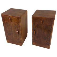 Pair of Art Deco Figured Walnut Bedside Cupboards