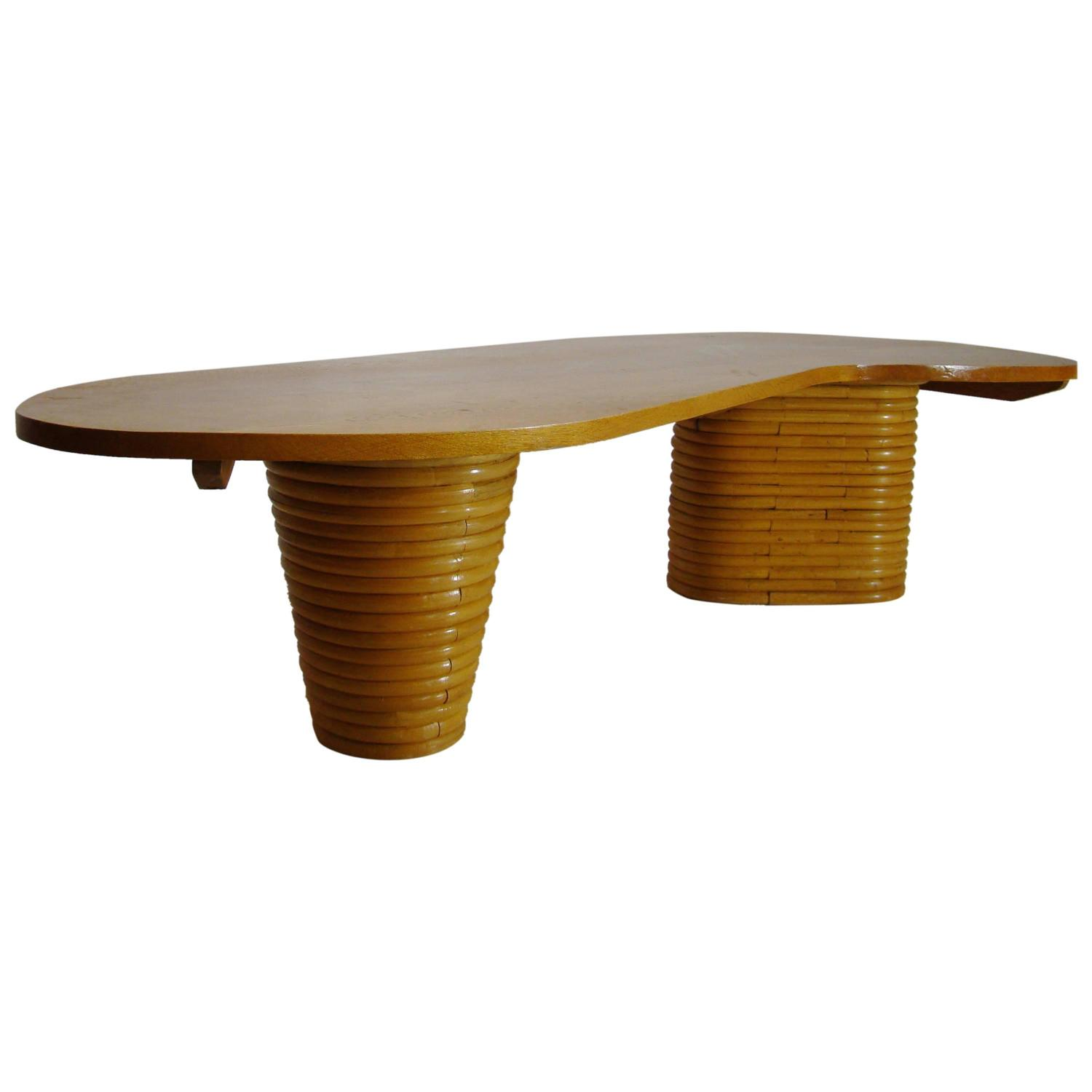 paul frankl style biomorphic rattan coffee table saturday sale at 1stdibs