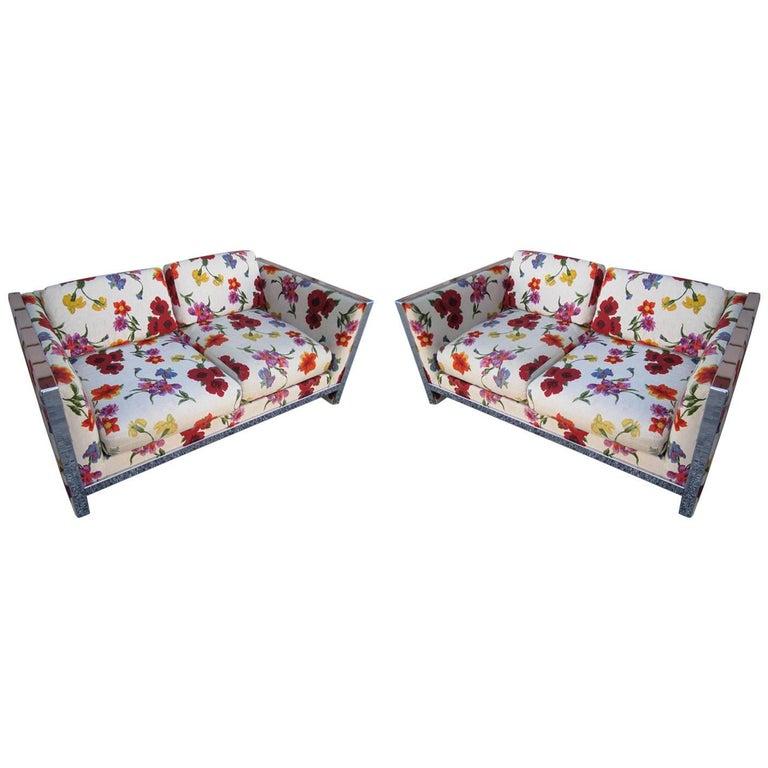 Petite Milo Baughman Chrome Flat Bar Sofa Loveseat, Mid-Century Modern