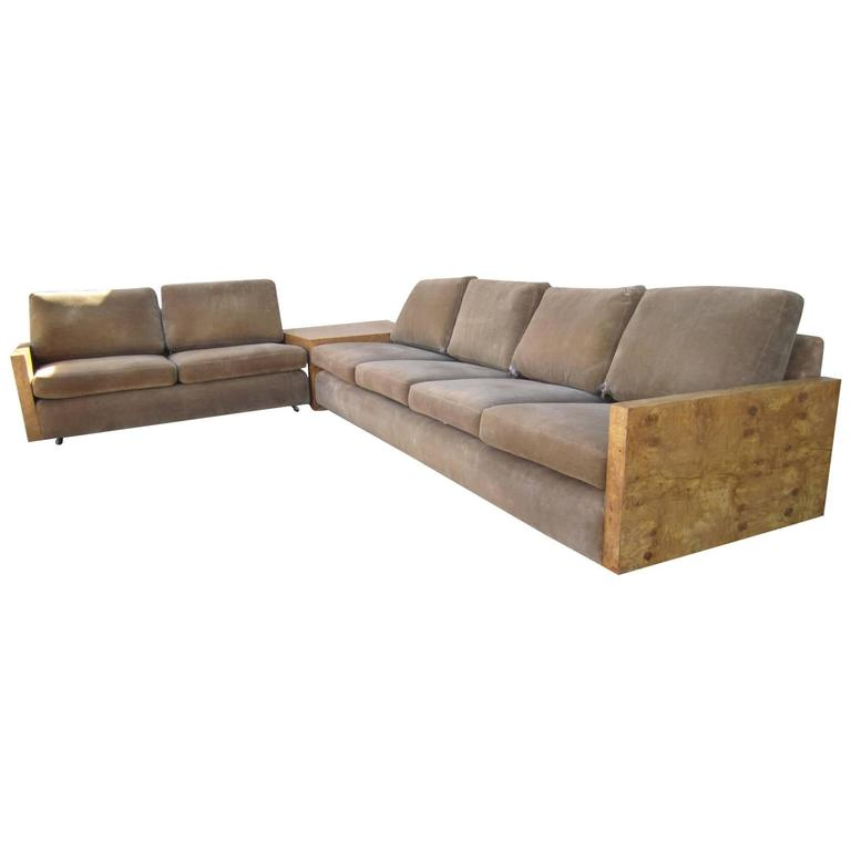 Gorgeous Three-Piece Milo Baughman Burled Olivewood Sofa Sectional For Sale