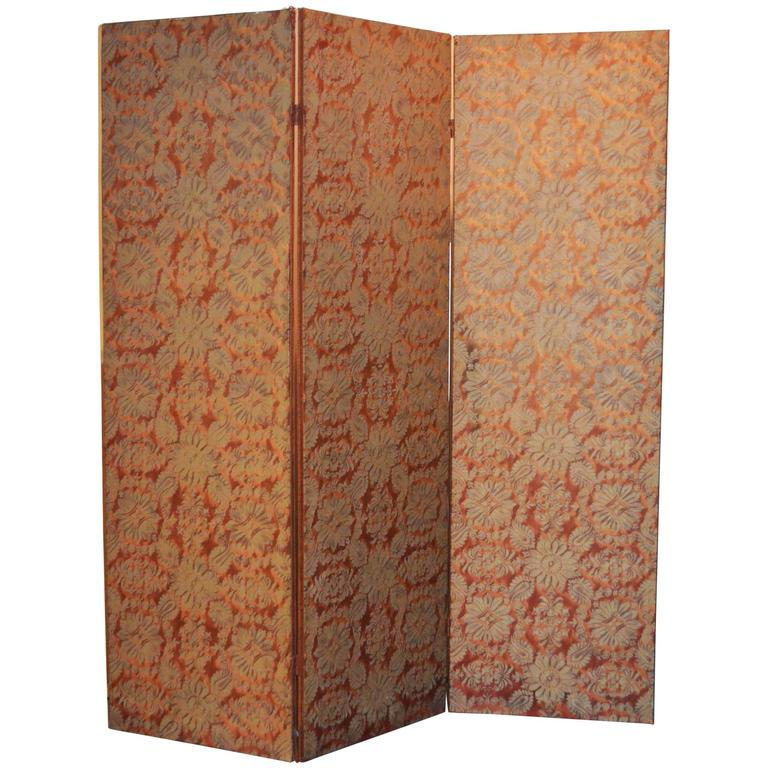 Vintage Three Panel Fortuny Screen