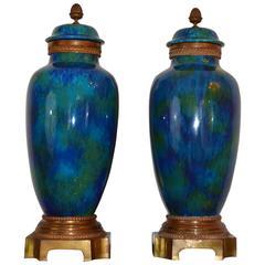 Pair of 1920s Sevres Art Deco Urns