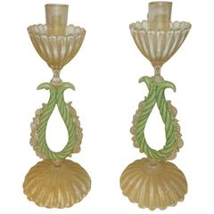 Beautiful Pair of 1950s Murano Candlesticks, circa 1950s
