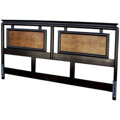Century Furniture Chin Hua an Headboard, Ebonized Maple and Burl Ash