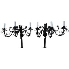 Spanish Wrought Iron Sconces, Pair