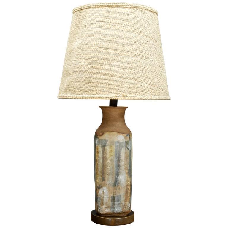 Monumental Brent Bennett Studio Pottery Lamp on Walnut