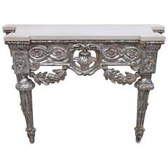 French Louis XVI Style Silver Leaf Console with Marble Top