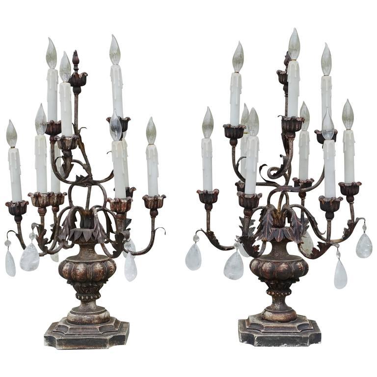 Pair of Italian Rococo Style Rock Crystal Candelabra