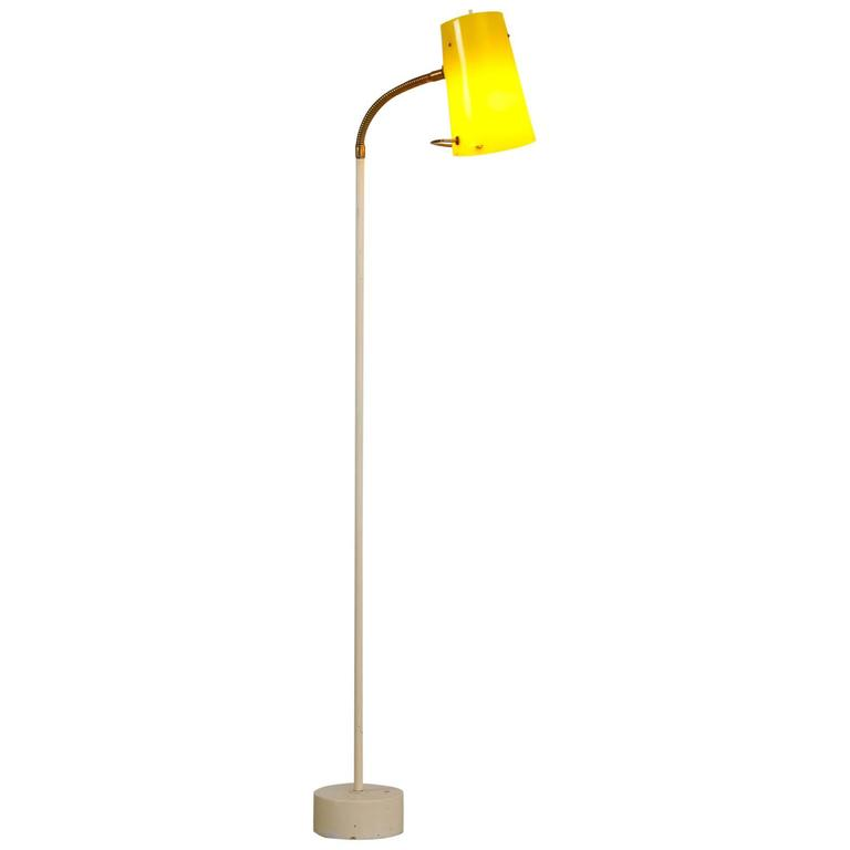 Scandinavian Modern Floor Lamp with Yellow Plexiglass Adjustable Shade, 1950s 1