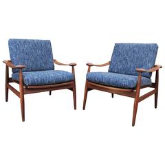 Pair of Danish  Lounge Chairs by of Finn Juh  Model 153