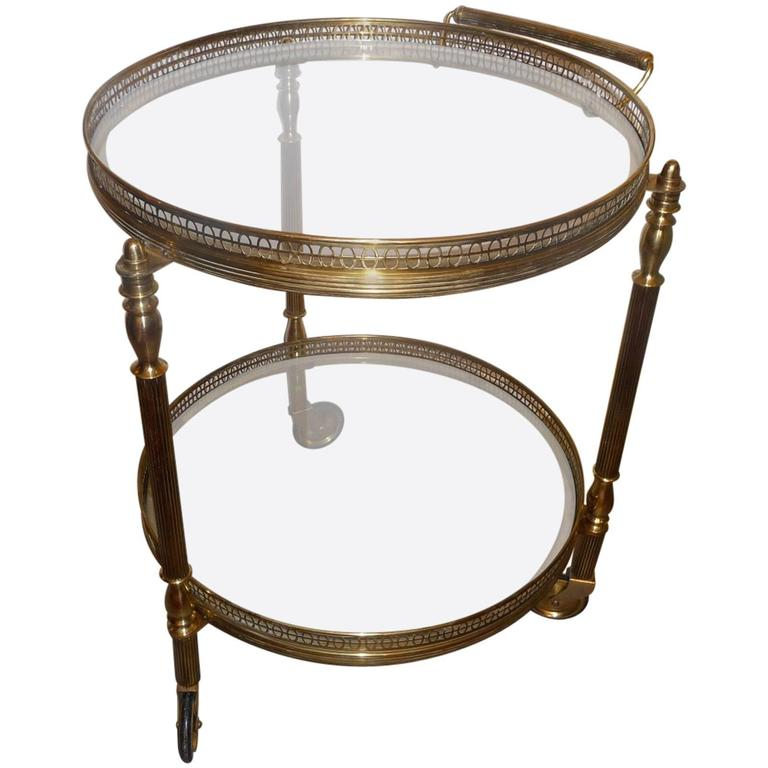 Circular Bronze French Bar Cart With Two Plates 1960s