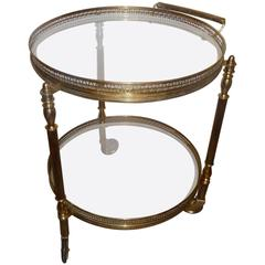 Circular Bronze French Bar Cart with Two Plates - 1960s