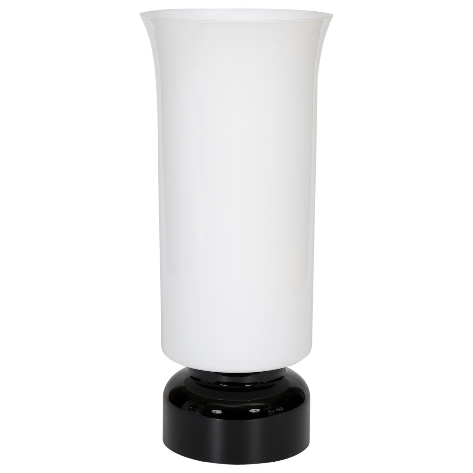 Italian Venetian, Table Lamp, Blow Murano Glass, Modern,  Black White, 1980s