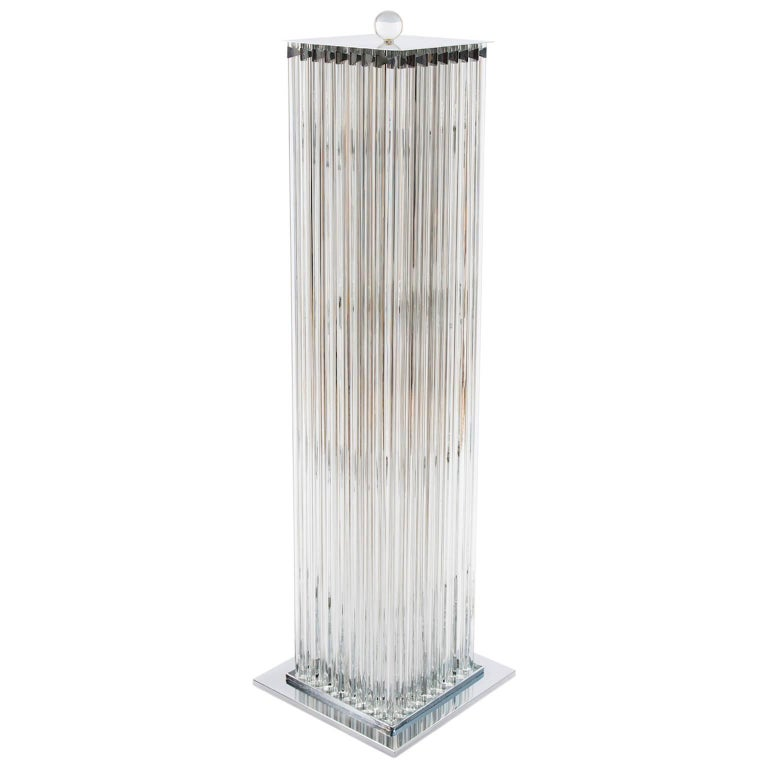 Floor Lamp in blown Murano Glass clear color triedros 1990s Italy For Sale