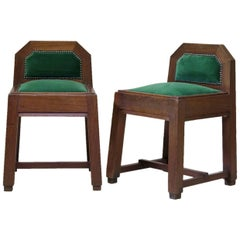 Pair of Solid Oak Arts and Crafts Stools, France, Early 20th Century