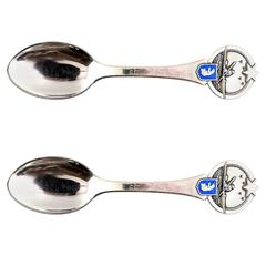 Two Christmas Spoons from 1948, Produced by Grann and Laglye, Copenhagen