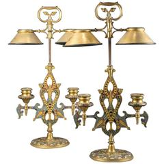 A Pair of Ormolu Lamps with Oriental style enamel decor