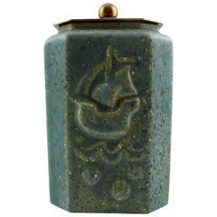 Arne Bang, Ceramic Vase with Bronze Lid, Denmark, 1930s-1940s