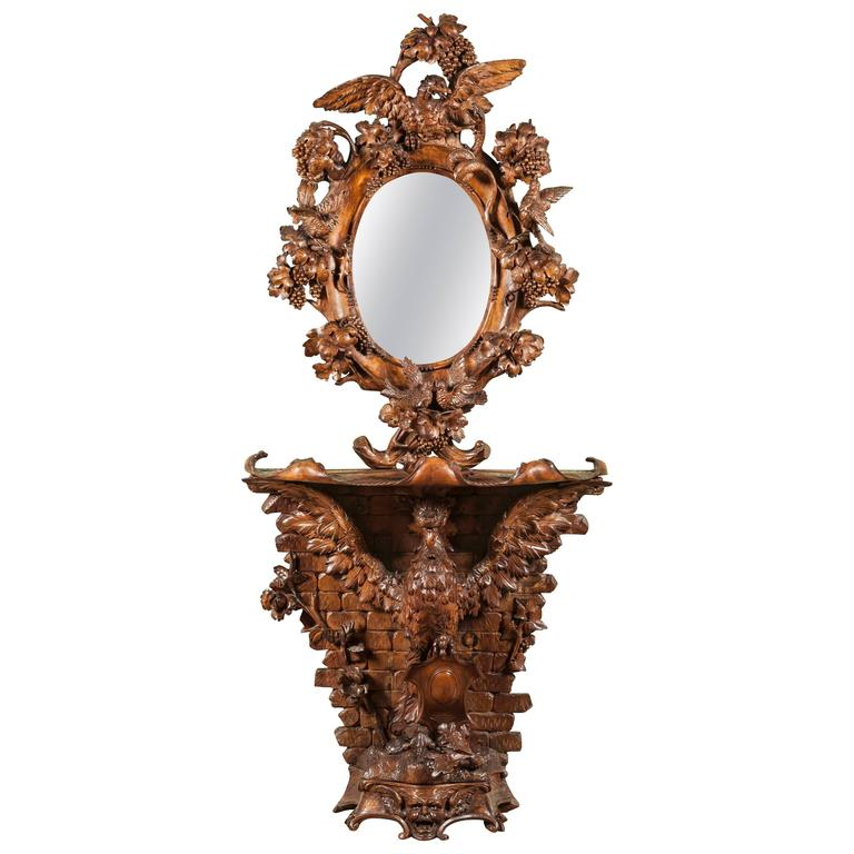 19th Century Italian Carved Walnut Console Table and Mirror
