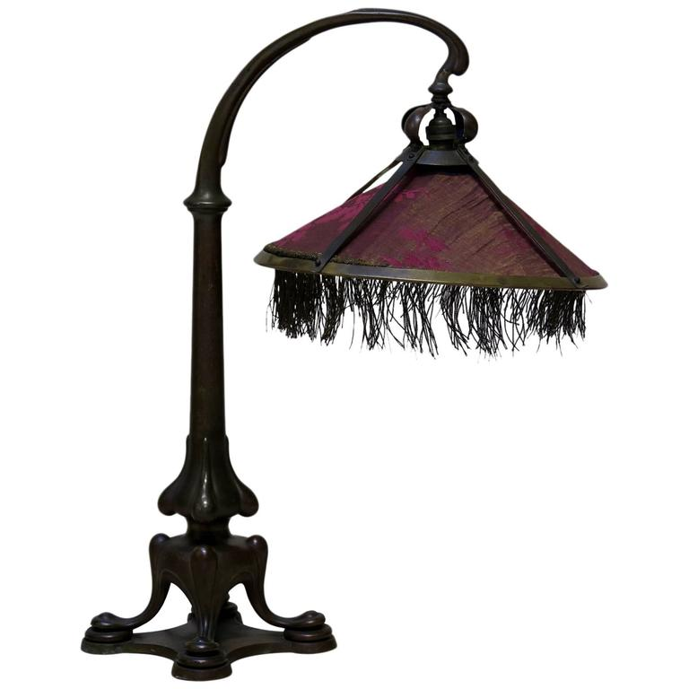 Solid Bronze Art Nouveau Table Lamp France, circa 1900