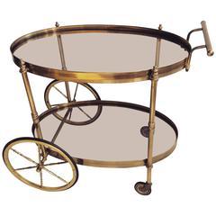 French Brass Oval Drinks Trolley/Bar Cart