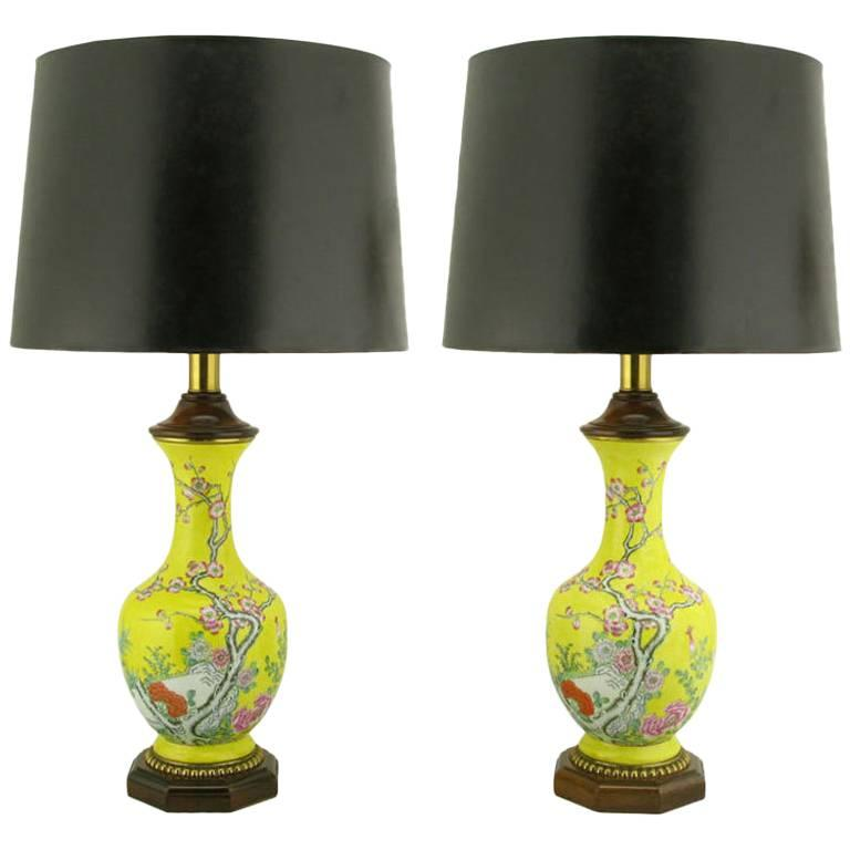 Pair of Paul Hanson Yellow Ceramic Table Lamps with Hand-Painted Cherry Blossoms For Sale