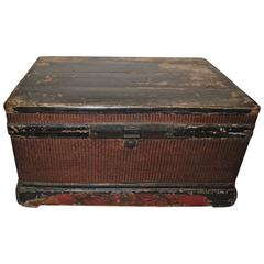 Chinese Late 19th Century Red and Black Woven Trunk