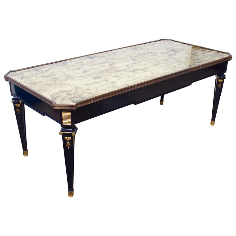 French ebonized coffee table with gilt eglomise glass top for French glass coffee table