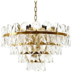Large Kalmar Chandelier Pendant Light, Brass and Glass, 1970