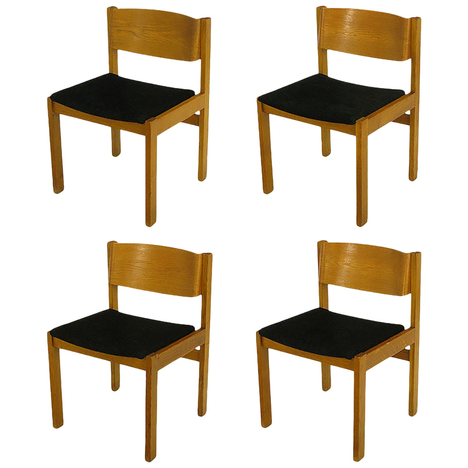 Set Four Bleached & Bent Mahogany Dining Chairs Marketed by Harvey Probber