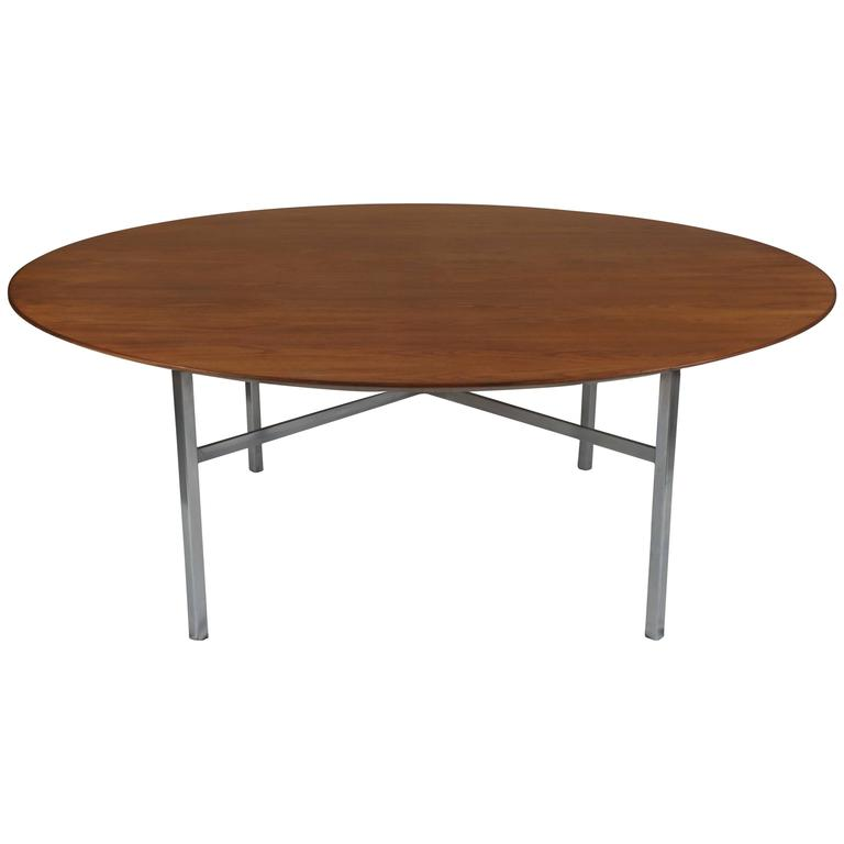 Florence Knoll Round Walnut Table
