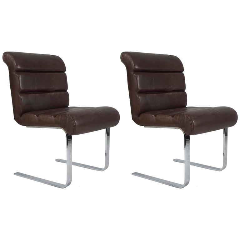 Pair of Pace Collection Dining Chairs in Leather and Chrome