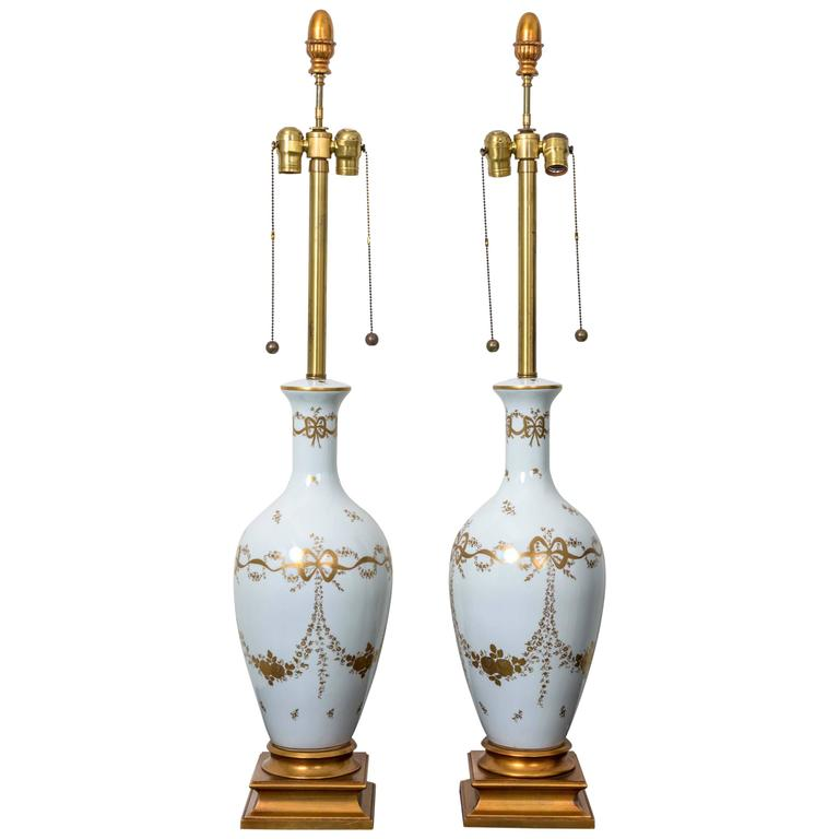 Pair of Monumental White French Porcelain Table Lamps For Sale