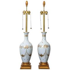 Pair of Monumental White French Porcelain Table Lamps