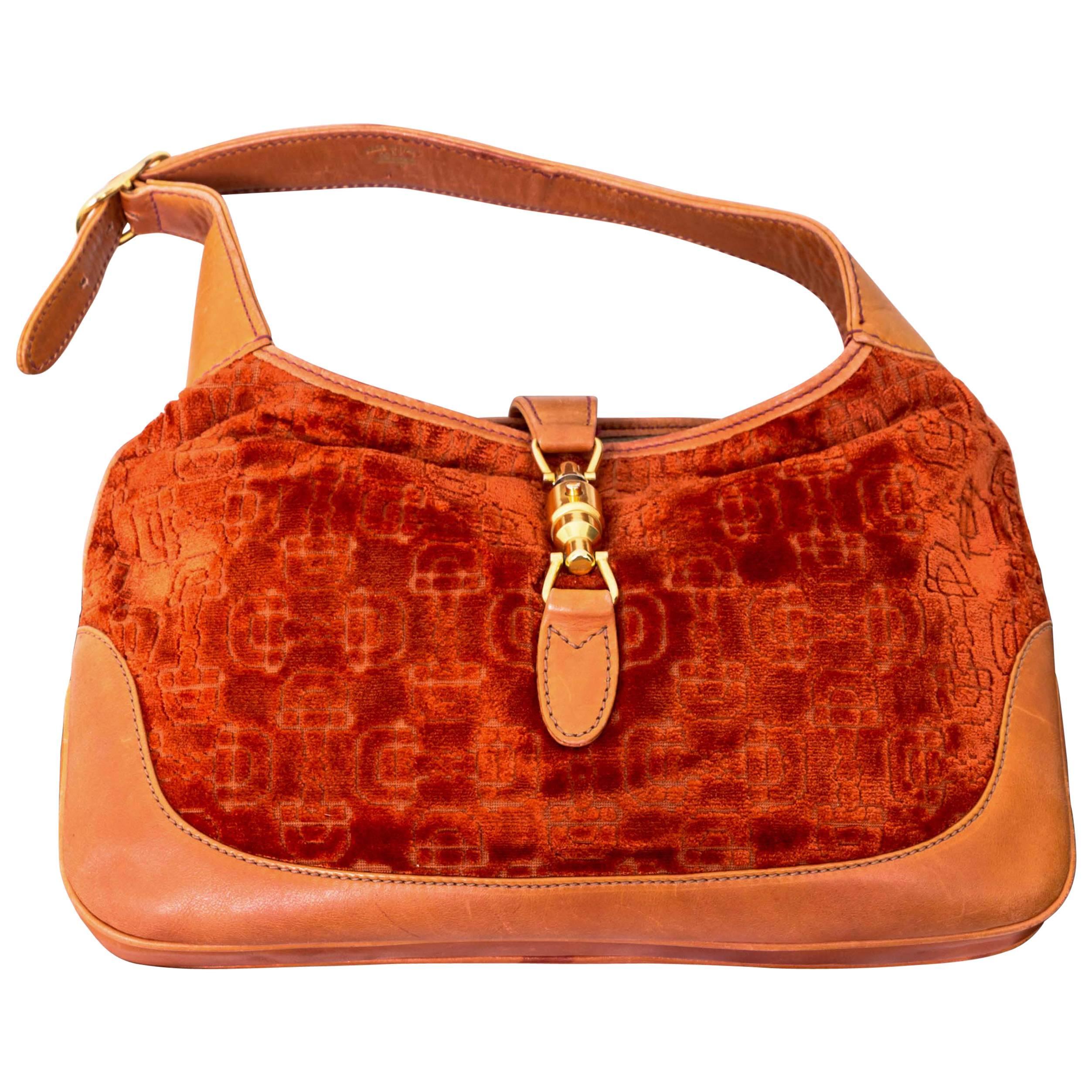 12c261617f39f Original Vintage Gucci Jackie O Bag with Velvet Horse-Bit Motif by Funky  Finders