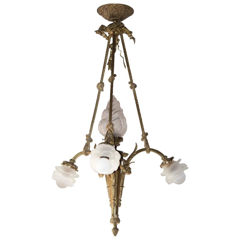 French Antique Pendant Chandelier in Gilt Bronze and Glass Shades