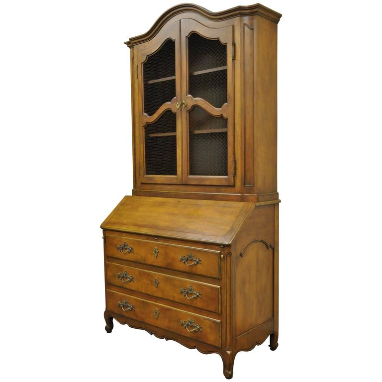 20th Century Baker Furniture Country French Style Secretary Desk or  Bookcase For Sale - 20th Century Baker Furniture Country French Style Secretary Desk Or