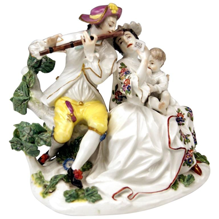 Meissen Rarest Figurines Musical Family with Baby Suckling by Eberlein ca: 1750