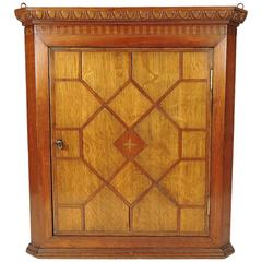 19th Century Georgian Oak and Parquetry Fruitwood Inlaid Hanging Corner Cabinet