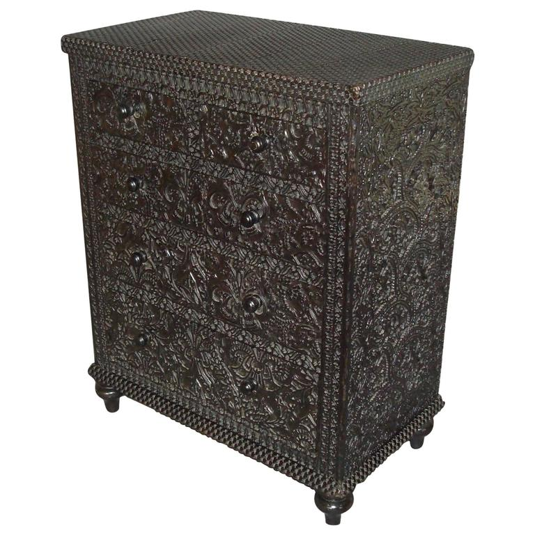19th Century Black Miniature Chest of Drawers