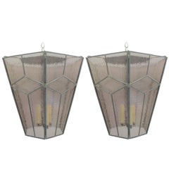 3 Italian Modern Neoclassical Leaded Rose-Grey Glass/Pendants/Lanterns