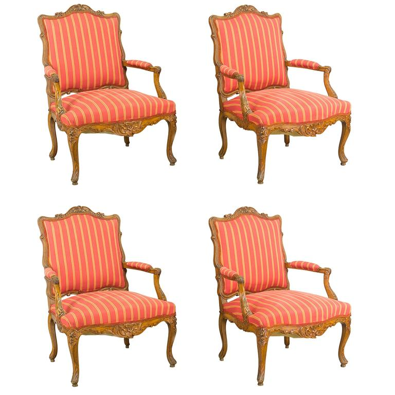 Suite of Four 19th Century Louis XV Chairs