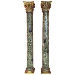Pair of 19th Century Green Marble Columns