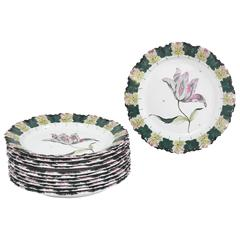 12 Floral French Faience Plates from the Estate of Paul & Bunny Mellon