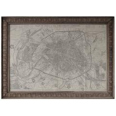 Original Antique Map of Paris, France, 1863