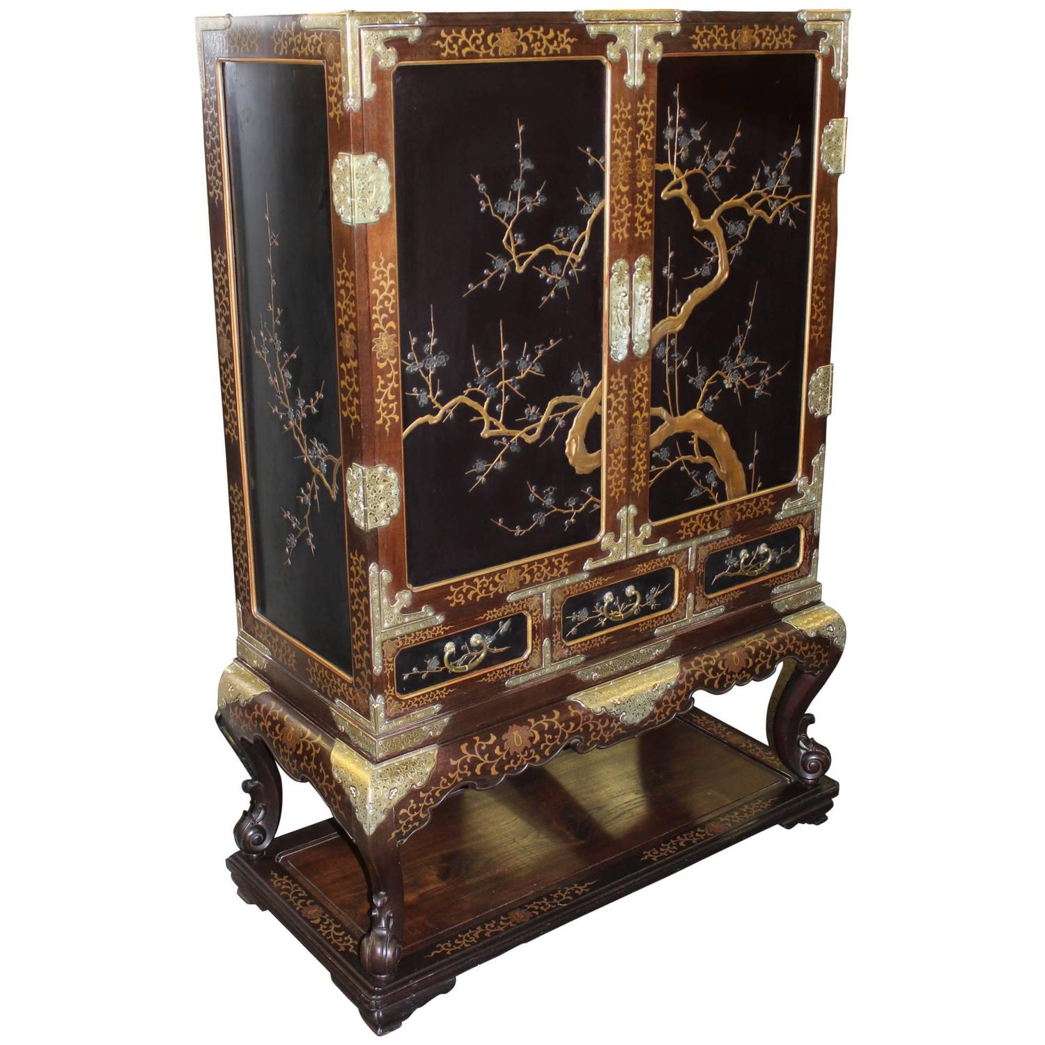 Chinese Hardwood Lacquered Cabinet On Frame With Mixed