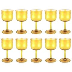 10 Louis Comfort Tiffany Favrile Water Goblets with Rare Cut Decoration