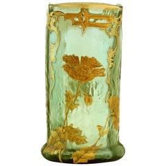 Antique Mont Joye Cameo and Gilt Art Glass Vase