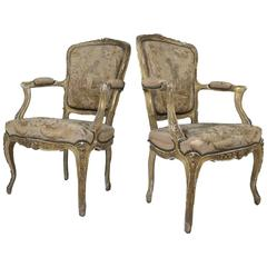 Pair of Antique Louis XV Style Giltwood Fauteuils