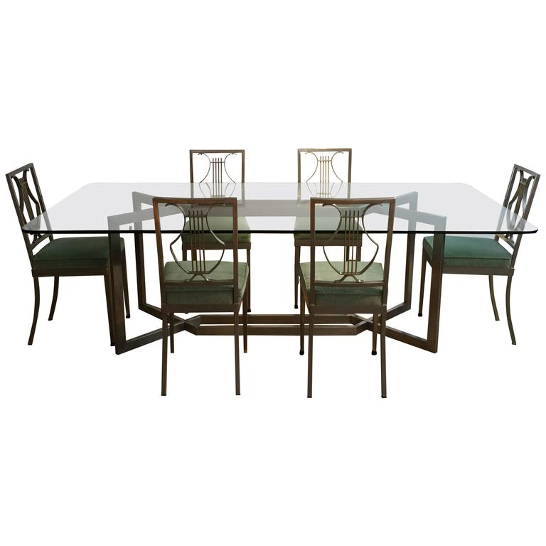 1970s French Dining Table and Set of Six Chairs For Sale  : 4269463l from www.1stdibs.com size 768 x 768 jpeg 32kB
